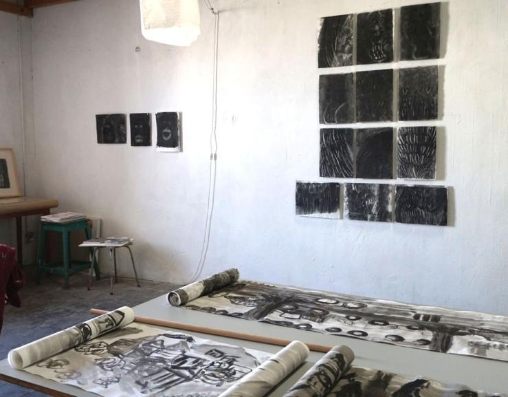 Cécile Savelli , Vue d'atelier , 2017