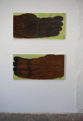 Cécile Savelli, Acrylique sur bois, 120 x 60 cm, 2 pièces