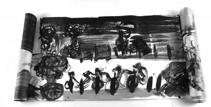 Cécile Savelli, Rouleau Encre de chine sur papier de riz , 45 x 400 cm, 2014